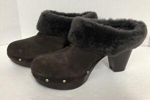 """Rockport Brown Leather mule clogs wood 3.5"""" heels Faux fur trim Size 11 EUC"""