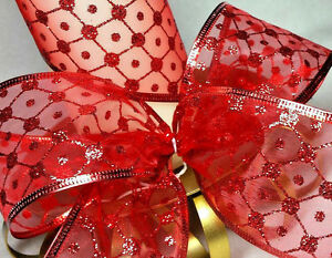 1m x 63mm WIRED CHRISTMAS RIBBON RED SHEER ORGANZA + GLITTER SPARKLE  CAKE TREE