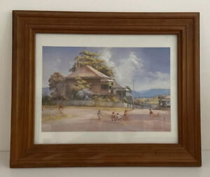 Darcy Doyle Framed Print On Canvas Country Kids Playing Hockey Glass Cover