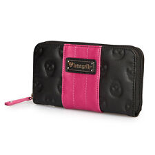 NWT Loungefly Embossed Skull Faux Leather Black/Neon Pink Zip-Around Wallet