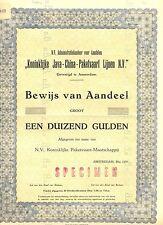 NEDERLAND- JAVA-CHINA--LINE -BEWIJS VAN AANDEEL1950 =SPECIMEN = ( de BUSSY)