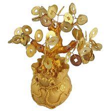 Feng Shui Arbre porte-bonheur 17 cm de jade bonsaï pfennig Travail manuel or