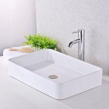 KES Bathroom Sink Vessel Sink 24 Inch Porcelain Rectangular White Above Counter