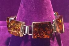 *NEW* STATEMENT PIECE STERLING SILVER 925 LARGE NATURAL BALTIC AMBER BRACELET