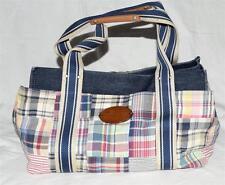 Tommy Hilfiger Multi Color Plaid Fabric with Denim Top Multi Pocket Shoulder Bag