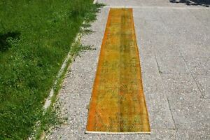 Yellow Hand Knotted Rug, Rug Runner, Colorful Rug, Antique Rug, Golden Living Ro