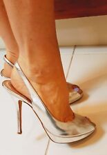 Christian Dior ladies vintage Authentic  metalic silver Leather peep toe shoes