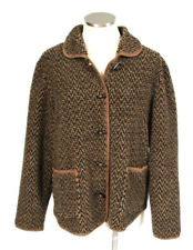 Orvis Black & Brown Chevron Jacket Fleece Faux Suede Trim Toggle Field Coat M