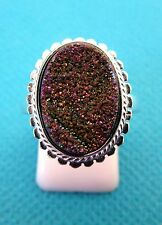 925 Silver Ring With Natural Rainbow Titanium Druzy Size O 1/2, US 7.5  (rg2617)