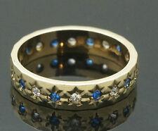 Vintage 9ct Yellow Gold Simulated Sapphire & Diamond Eternity Size J