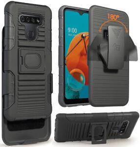 Black Rugged Finger Grip Case Stand and Belt Clip Holster for LG K51, Reflect