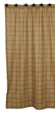 Soft Cotton Burlap Tan Check Shower Curtain