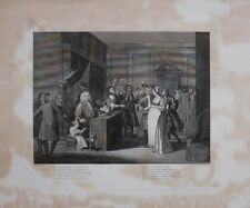 c1800 LARGE ORIGINAL HOGARTH ENGRAVING COURTROOM SCENE JUDGE PREGNANT WOMAN DOG
