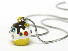 Small YellowIce Cream Cupcake Charm Necklace
