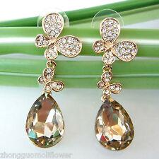 Zircon Crystal Ear-Nail Earrings Bh1479 Navachi Butterfly 18K Gp Champagne
