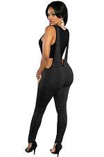Abito tuta aperto Nudo scollo ballo aderente Plunging V Back Jumpsuit Dress M