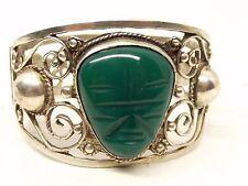 "Vtg Sterling Silver Carved Jade Bracelet 7"" Mayan Aztec Mask Face Ornate Chunky"