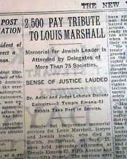LOUIS MARSHALL Jewish Leader Minorities Advocate MEMORIAL Tribute 1929 Newspaper