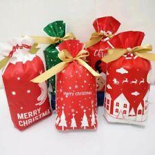 50PCS Christmas Candy Treat Bags Gift Wrapping Bag Xmas Party Drawstring Bags
