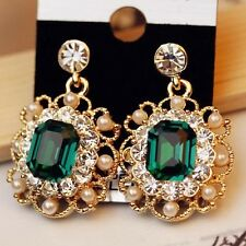 Gemma Pearls Drop Earring Gold Plated Crystal Dangle Gold Plated  Occasion