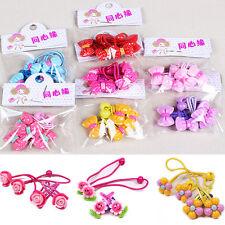 4 Pcs/set Elastic Rubber Band Hair Rope Flower BB Clips Kids Headdress Best AU