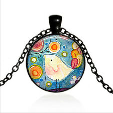 Whimsical Bird art Black Glass Cabochon Necklace chain Pendant Wholesale