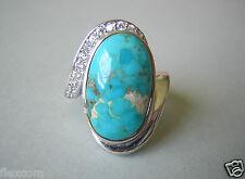 Massiver 925 Silber Ring mit Türkis und farblosen Steinen 7,1 g Gr. 52 (16,6 mm)