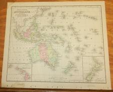 1885 Warren Antique COLOR Map///AUSTRALIA, MALAYSIA, POLYNESIA, NEW ZEALAND