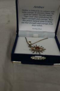 Sterling Silver & Amber Sunburst Necklace Pendant