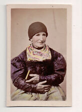 Vintage CDV Handpainted Old lady from Germany Traditional National Costume