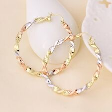 "9K 9ct Yellow Rose & White ""GOLD FILLED"" Lovely Large HOOP EARRINGS, 50mm Gift"