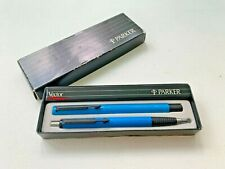 1987 Boxed Parker Vector Rollerball Pen + Ball Pen set Pretty Blue. Excellent