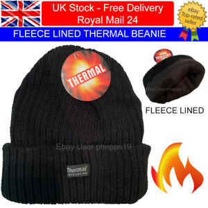 Mens Ladies Thermal Beanie Hat Warm FLEECE LINED Knitted Winter Ski Slouch Cap