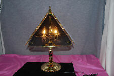 4-Panel Touch Smoked Etched Glass Candelabra Brass Table Lamp SMART LITE  #L2568