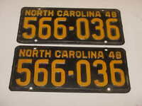 1948 North Carolina NC License Plates Tags Matching Pair Yellow Black 566-036