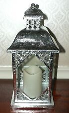 """14"""" SILVER LANTERN WITH WHITE FLAMELESS CANDLE WEDDING OR HOLIDAY DECORATIONS"""