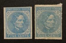 TDStamps: US CSA Stamps Scott#6 Unused NG #7 Mint H OG, Lightly Crease Both