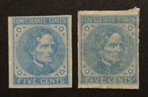TDStamps: US CSA Stamps Scott#7 Mint H OG #6 NG Both Lightly Crease