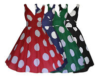 WOMENS RETRO VINTAGE 50's COTTON BIG POLKA DOT FLARED SWING  DRESS NEW 8 - 20