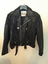 Black Leather EXCELLED Riding Jacket ~ Fringed with Conchos ~ Size 40