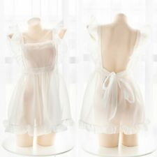 Sexy Girl's Lolita Kawaii Perspective Maid Apron Outfit Dress Cosplay Costume