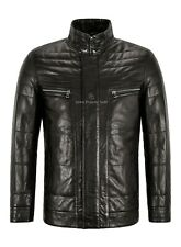 Men's Classic Leather Jacket Black Quilted Semi Veg Winter Napa Leather Jacket