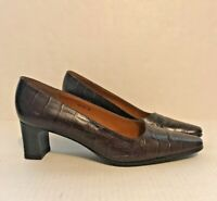 LAUREN RALPH LAUREN Brown Leather Alligator Pumps Block Heel Size 6B