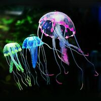 Silicone Glowing Effect Artificial Jellyfish Aquarium Fish Tank Ornament Decor