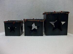 Three Small Metal Nesting Boxes w/Texas Star