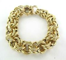 14KT SOLID YELLOW GOLD BRACELET DOUBLE LINK 62.9 GRAMS HEART BANGLE 015945501