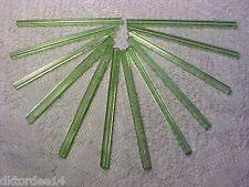 Vtg 12 TRANSPARENT PALE GREEN 5 SIDED ATLAS BUGLE RIDGED GLASS BEADS 80mm! RARE