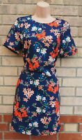 YUMI BLUE ORANGE FLORAL SHORT SLEEVE SHIFT BODYCON SUMMER VTG TEA DRESS 10 S