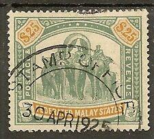 MALAYA FMS 1909 $25 ELEPHANT SG51 FINE USED FISCAL CANCEL
