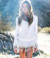 Strandkleid Gr.S Tunika Bluse im Boho Hippie Style in weiß mit Fransen